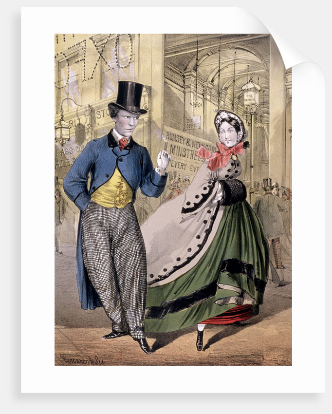 A lady and a gentleman by the entrance to the Oxford Music Hall, Oxford St, Westminster by Concanen & Lee