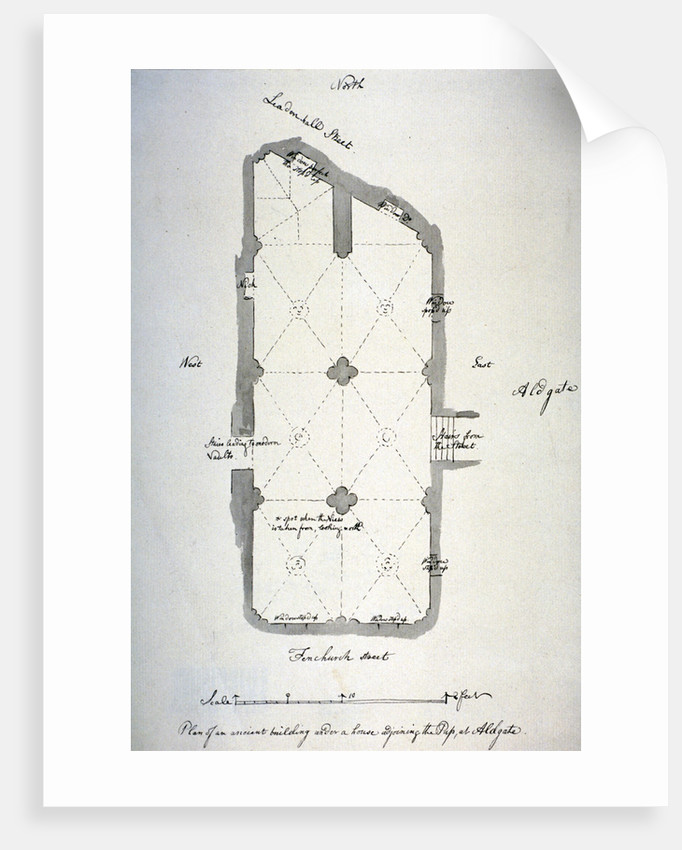 Plan of vaulting in St Michael's Crypt, Aldgate, London by John Carter
