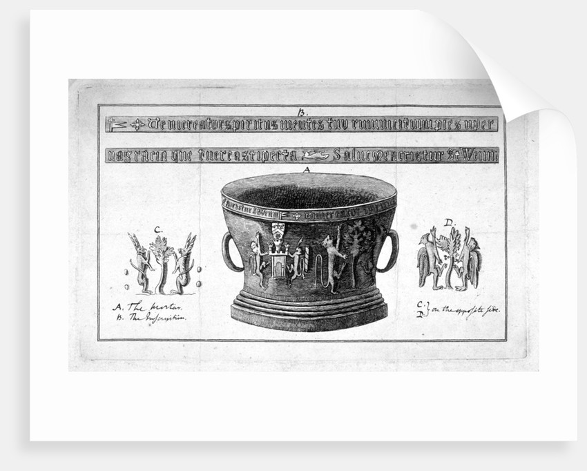 Depiction of a mortar from the Apothecaries' Hall, including inscription by
