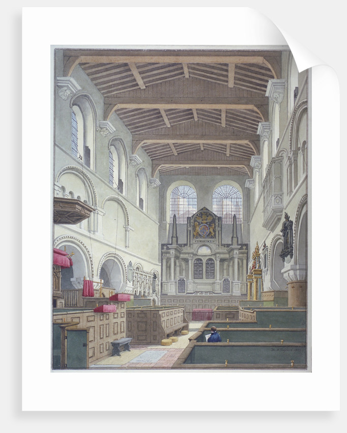 Interior view of the Church of St Bartholomew-the-Great, Smithfield, City of London by Thomas Hosmer Shepherd