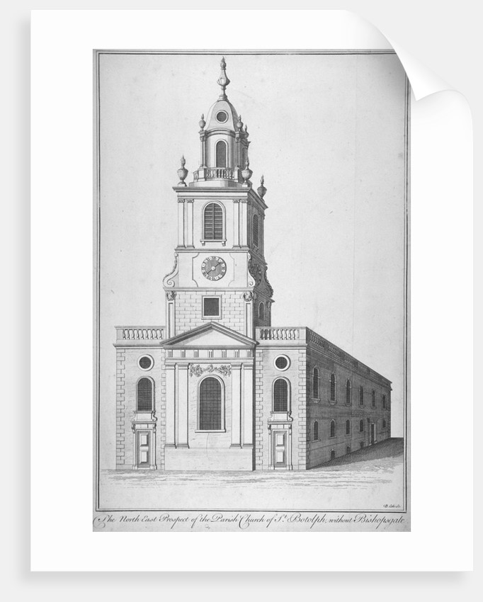North-east view of the Church of St Botolph without Bishopsgate, City of London by Benjamin Cole