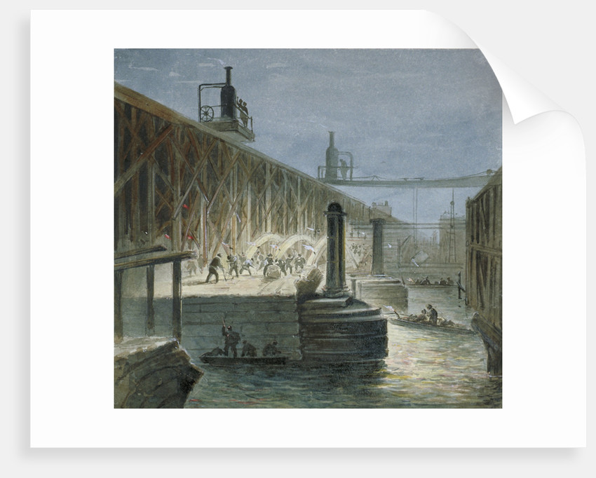 Demolition work being carried out on Blackfriars Bridge from the Surrey shore, London by George Maund