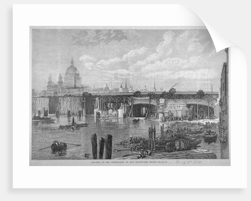 Construction work being carried out on Blackfriars Bridge, London by Anonymous