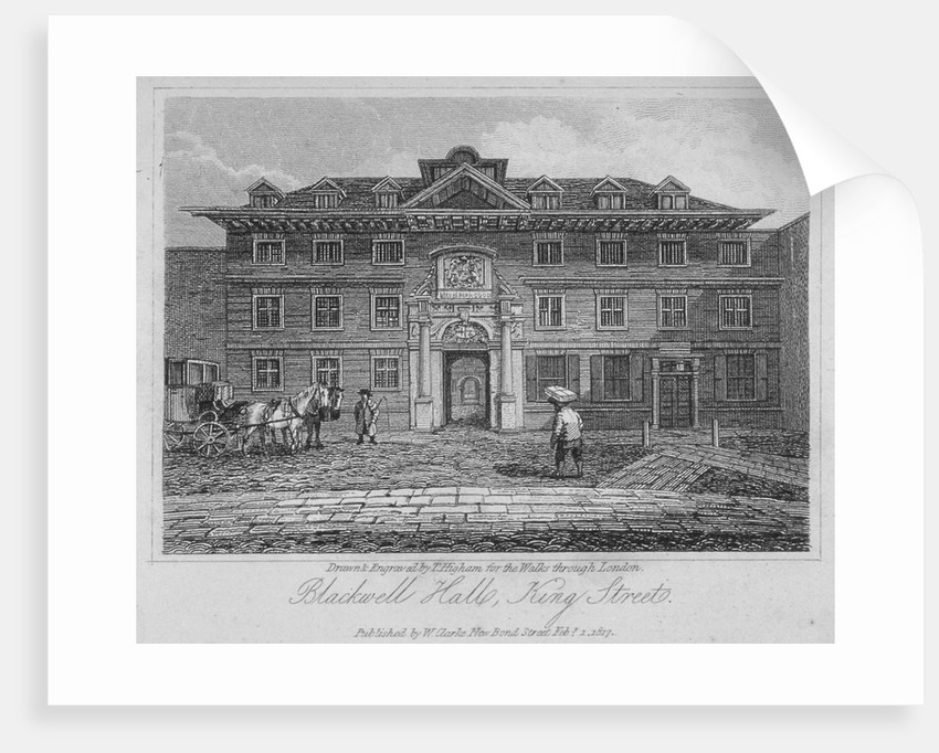 View of Blackwell Hall on King Street with carriage and figures, City of London by Thomas Higham