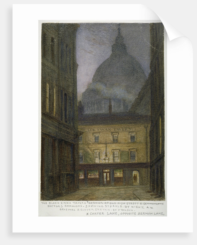 The Black Swan Tavern in Carter Lane, City of London by JT Wilson