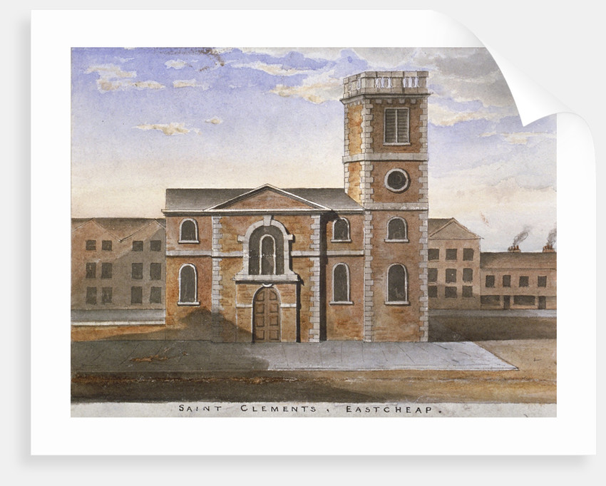 South view of the Church of St Clement, Eastcheap, City of London by