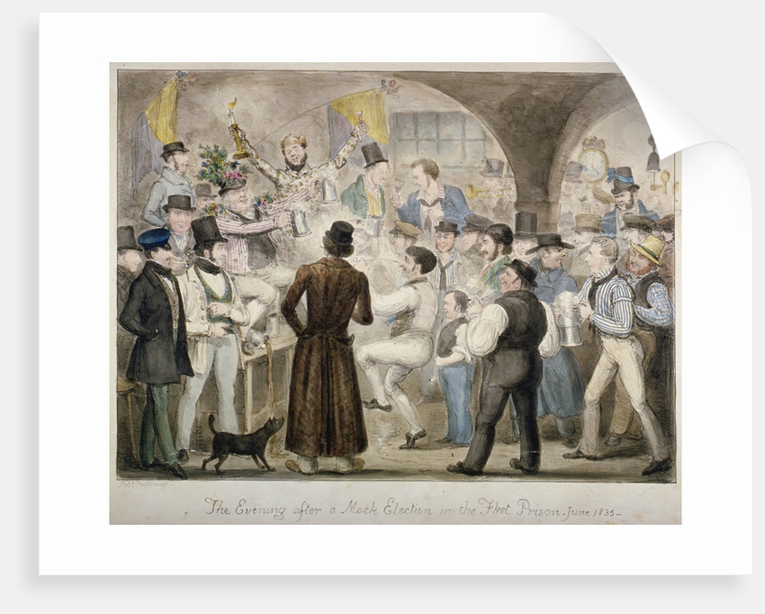 The evening after a mock election in the Fleet Prison, June 1835' by