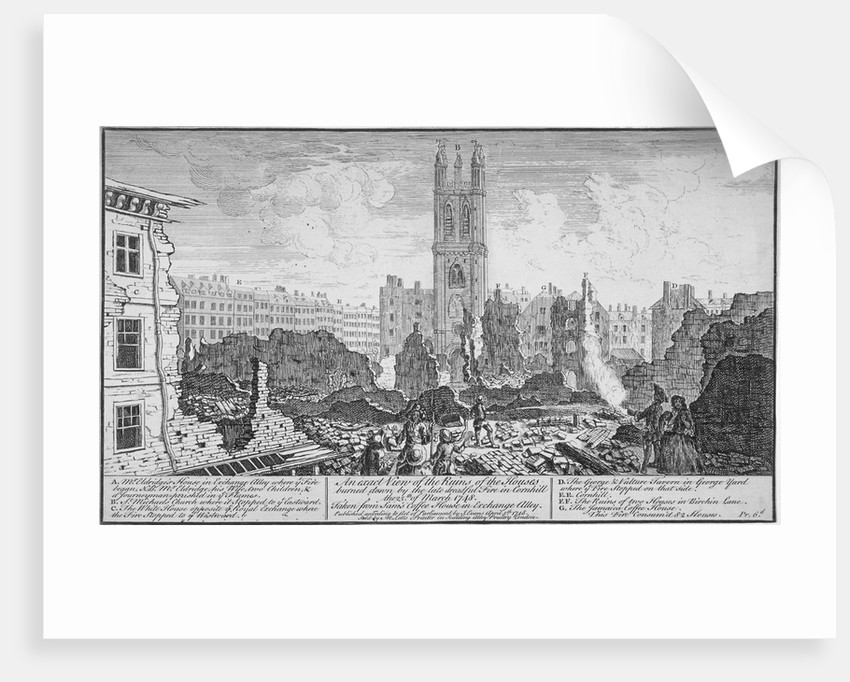 Ruins of houses burnt down in a fire in Cornhill, City of London, 25 March by Anonymous