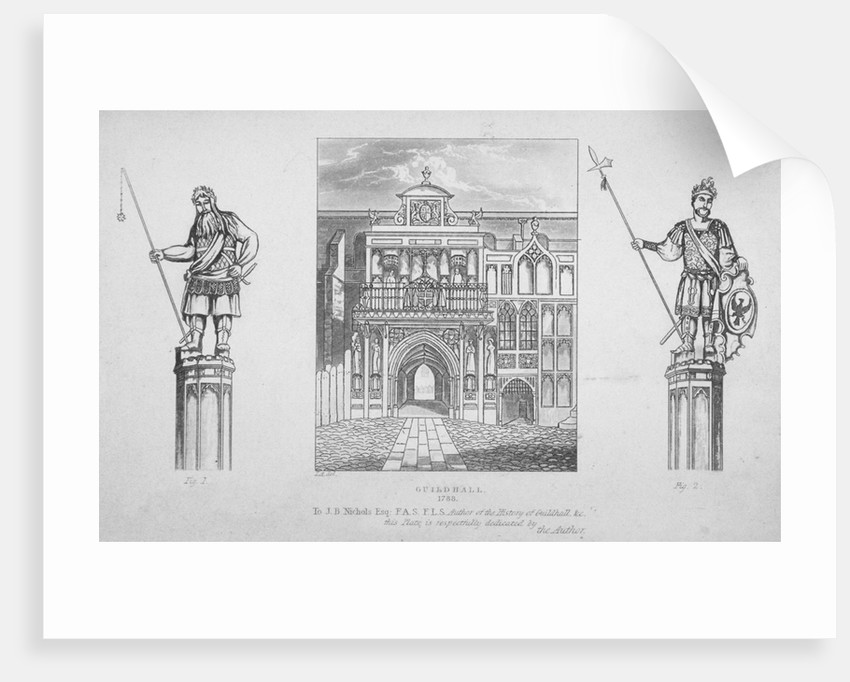 View of the Guildhall with the giants Gog and Magog on either side, City of London by Anonymous