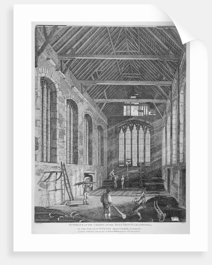 Workmen dismantling Holy Trinity Chapel, Leadenhall Street, City of London by