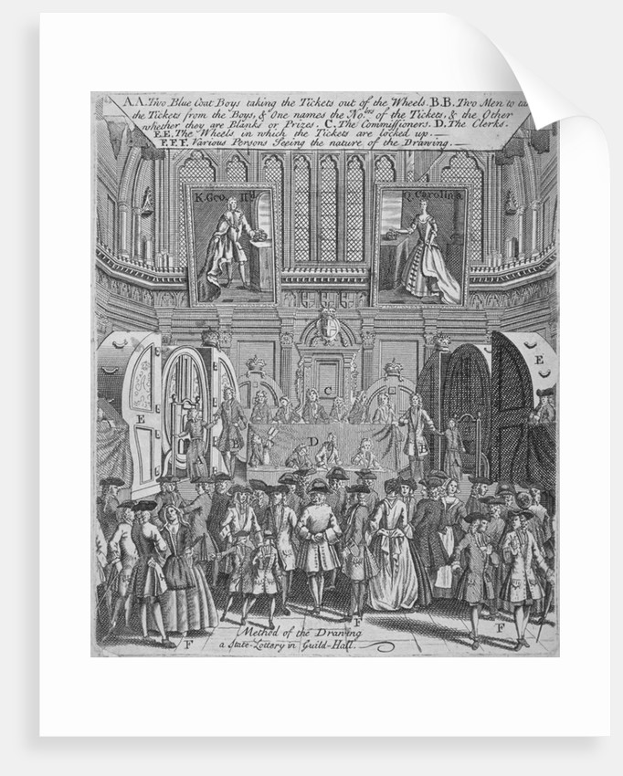 Drawing of the state lottery in the Guildhall, City of London by Anonymous