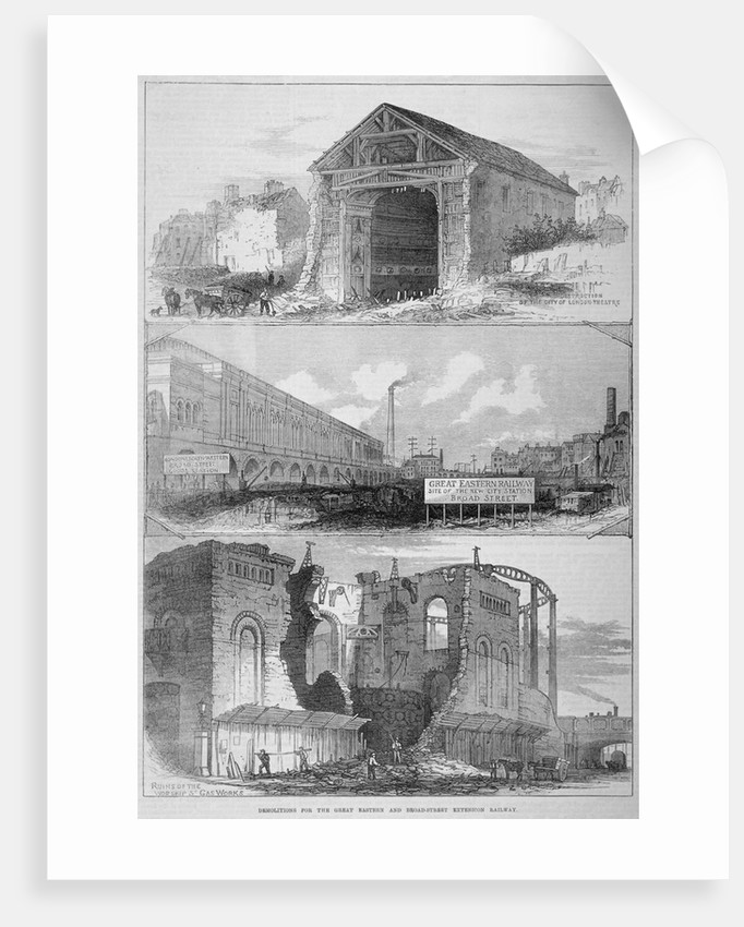 Demolitions for the Broad Street Extension of the Great Eastern Railway, City of London by