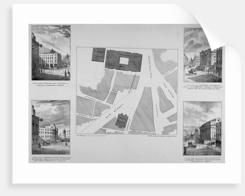 Plan of proposals for King William Street, City of London by Blades
