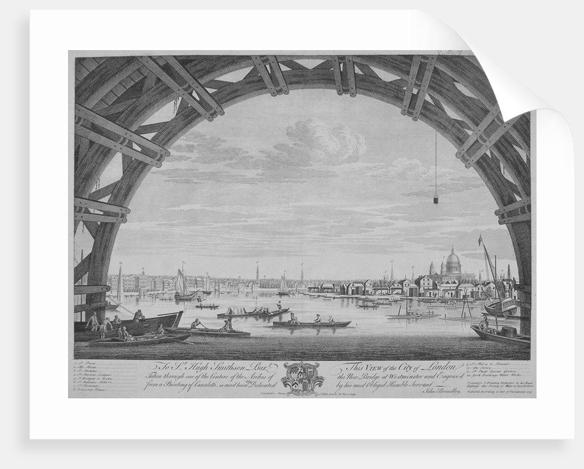 View of London and the River Thames from under Westmister Bridge by Remigius Parr