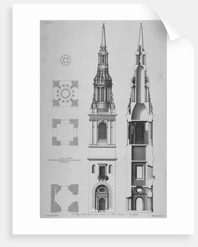 Plans, elevations and section of the Church of St Mary-le-Bow, Cheapside, City of London by Sir Christopher Wren