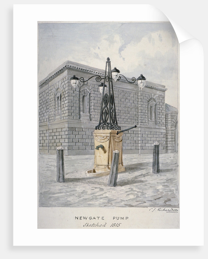 Newgate Pump, Old Bailey with Newgate Prison in the background, City of London by Charles James Richardson