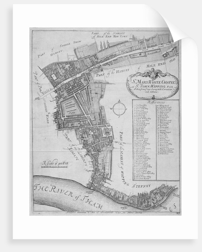 Map of the parishes of St Mary, Whitechapel and St John, Wapping, in Stepney, London by Anonymous