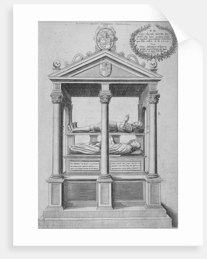 Monument of Sir Nicholas Bacon in old St Paul's Cathedral, City of London by Wenceslaus Hollar