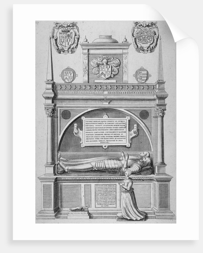 Monument of Sir Paul Heneage in old St Paul's Cathedral, City of London by Wenceslaus Hollar