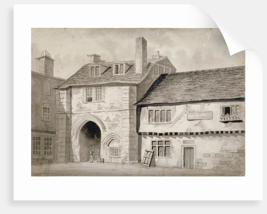 East view of the gateway to the Abbey of St Saviour, Bermondsey, Southwark, London by Anonymous