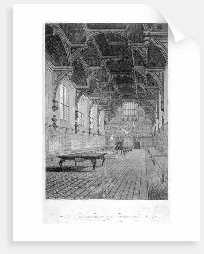 Interior view of Inner Temple Hall, City of London by