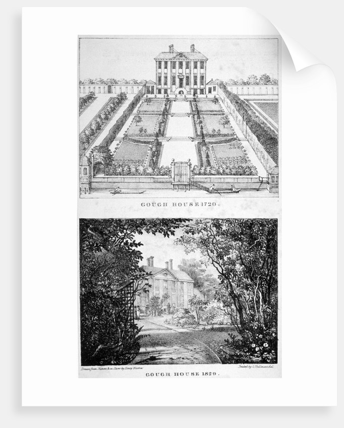 Two views of Gough House, West Road, Chelsea, London by Charles Joseph Hullmandel