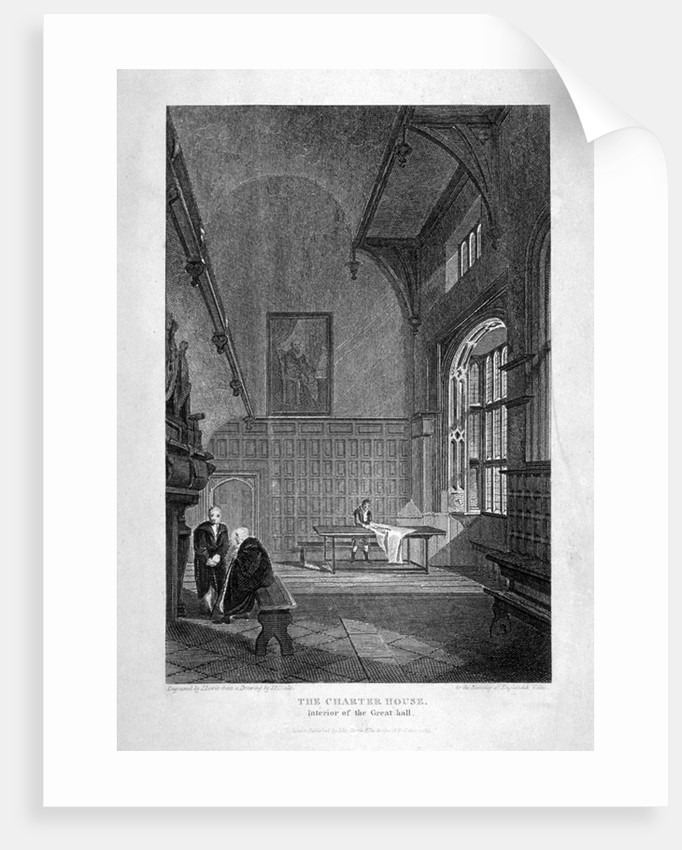 Interior of the Great Hall, Charterhouse, Finsbury, London by J Lewis