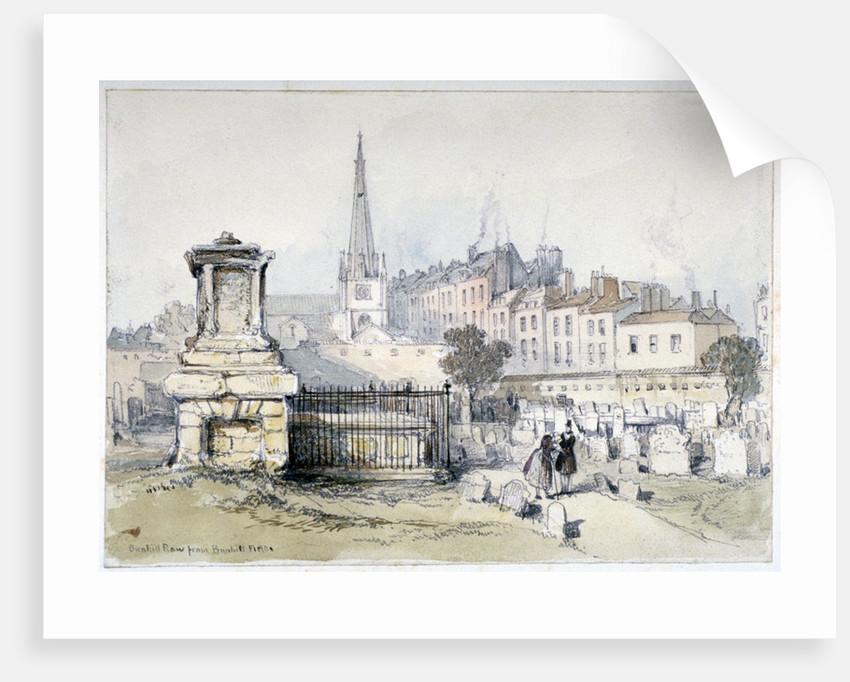 View of Bunhill Row from Bunhill Fields, Finsbury, Islington, London by Thomas Colman Dibdin