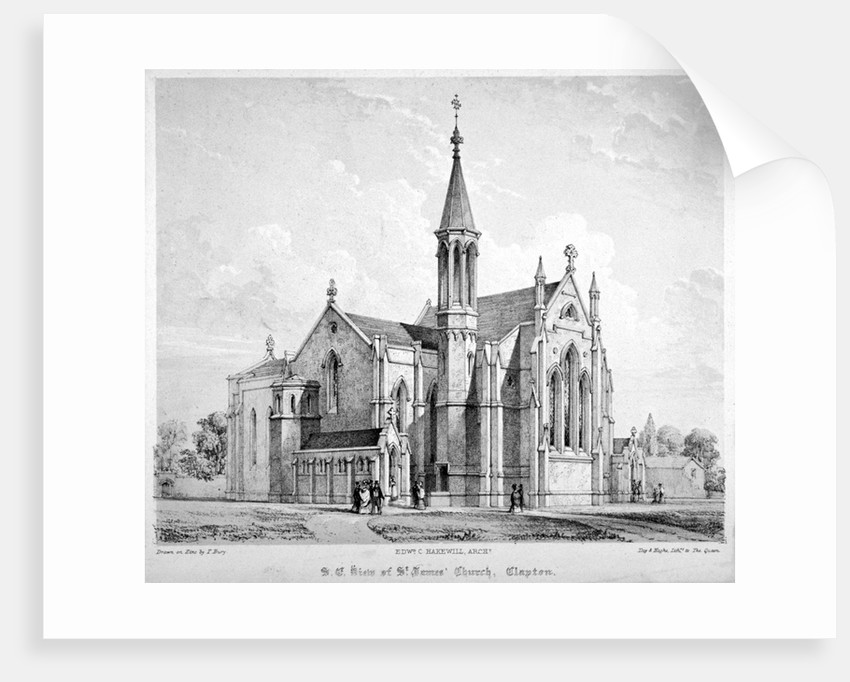 South-east view of St James Church, Clapton, Hackney, London by Anonymous
