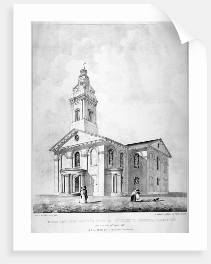 North-west view of the Church of St John at Hackney, London by Charles Chabot