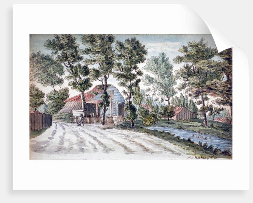View of farm buildings near a stream in Hackney Wick, London by