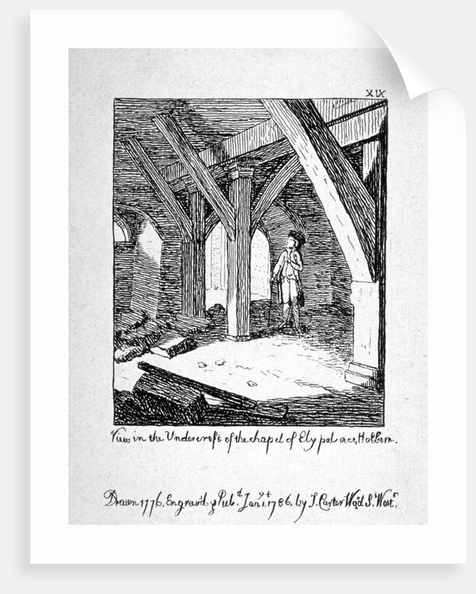 View in the undercroft of the Church of St Etheldreda, Ely Place, Holborn, London by John Carter