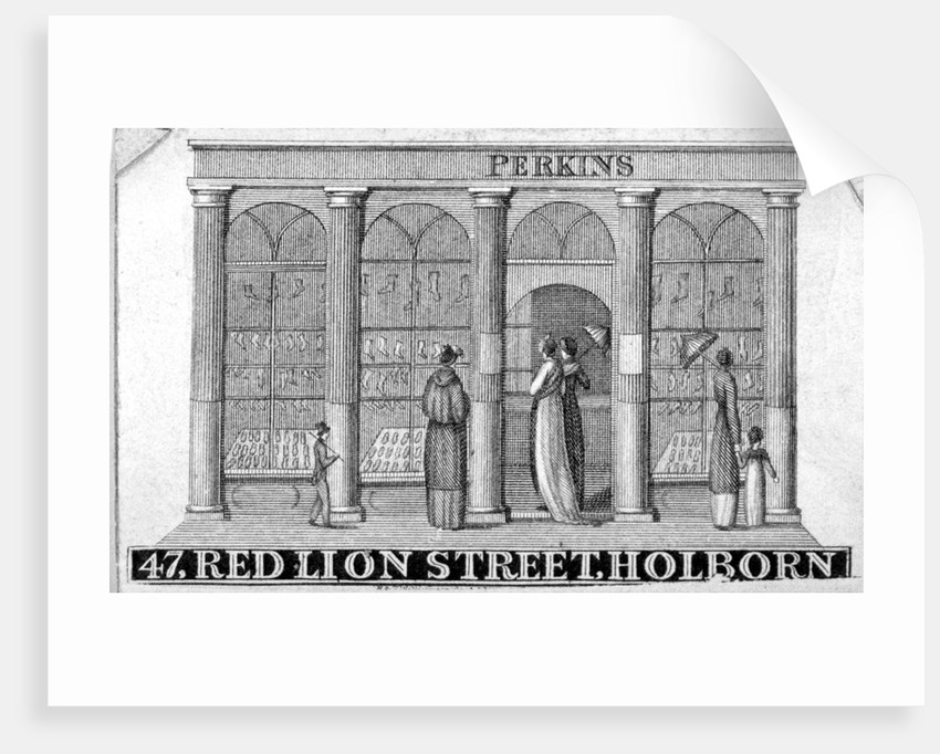 Shop front of Perkins ladies' shoe shop at 47 Red Lion Street, Holborn, London by Anonymous