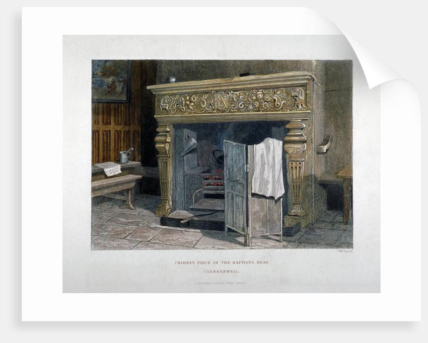 View of a chimney piece in the Baptist's Head Inn, Clerkenwell, London by John Wykeham Archer