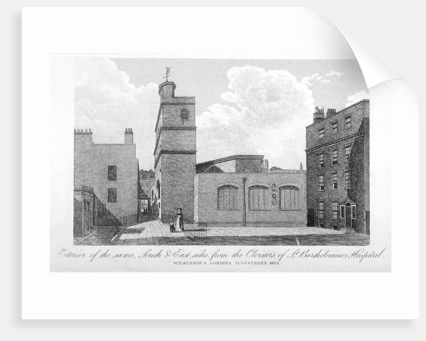 South and east sides of the Church of St Bartholomew-the-Less, City of London by Anonymous