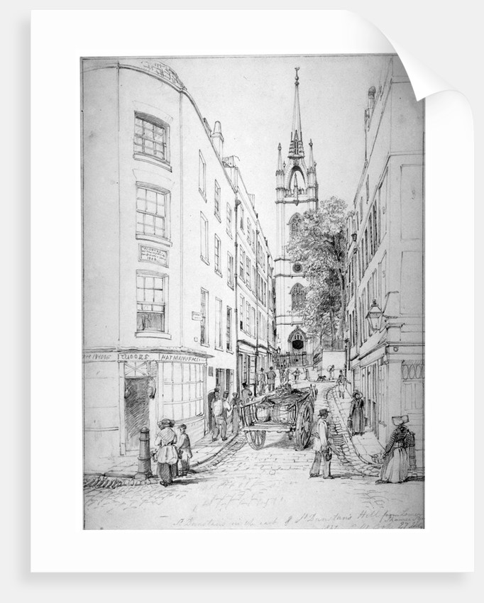 Church of St Dunstan in the East and St Dunstan's Hill from Lower Thames Street, London by Edward William Cooke