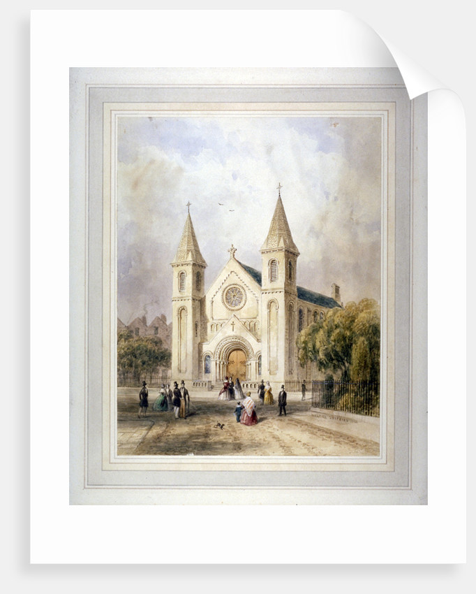 View of an unknown religious building in Regent Square, St Pancras, London by