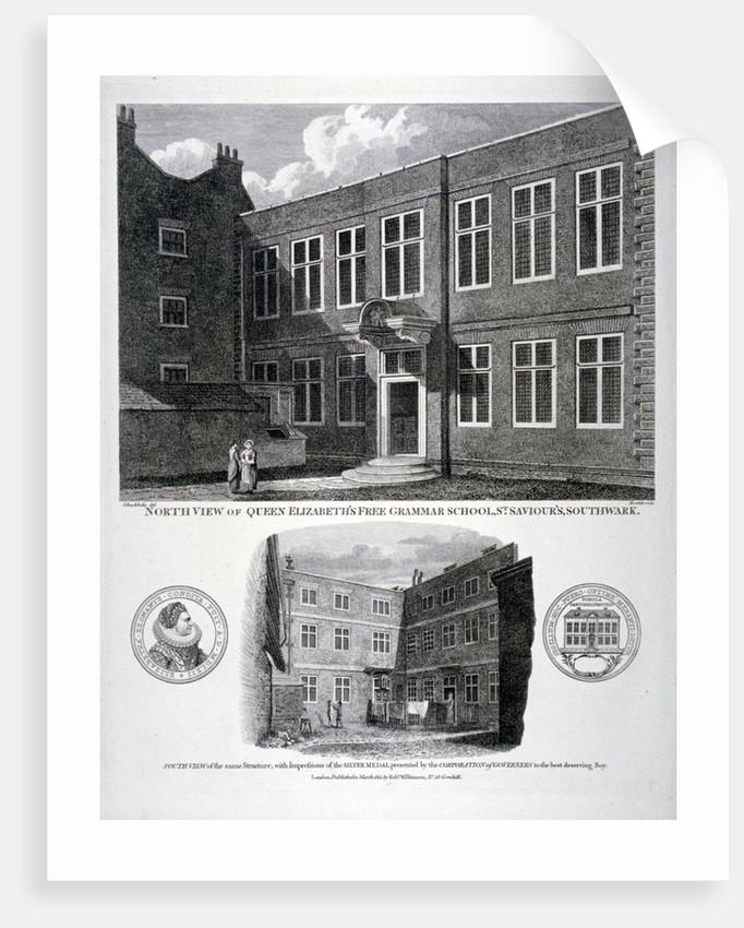 Queen Elizabeth's Free Grammar School, St Saviour's Churchyard, Southwark, London by G Howlett