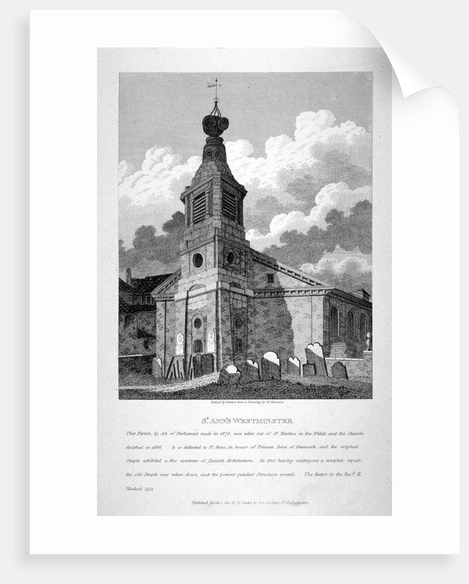 View of the Church of St Anne, Soho, across the graveyard, London by