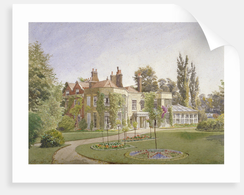 The front entrance and garden at Raleigh House, Brixton Hill, Lambeth, London by John Crowther