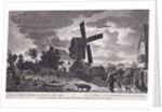 A mill on Blackheath by moonlight; including figures and a windmill, Greenwich, London by John June