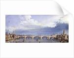 New London Bridge, London by Augustus Charles Pugin