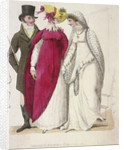 Two women wearing walking dresses accompanied by a man by W Read