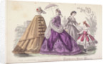 Three women and a child wearing the latest fashions by Anonymous