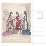 Two women on the left wearing seaside fashions, the woman on the right wears a garden dress by
