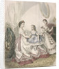 Two women and a small girl wearing the latest indoor fashions by Millia Lacouriere