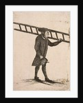 Lamplighter holding a ladder and an oil can by Edward Topham