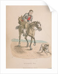 Butcher's boy riding a horse accompanied by a dog running ahead, carrying a basket of meat by