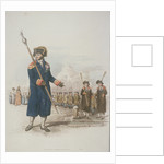 Parish Beadle in civic costume holding a staff by William Henry Pyne