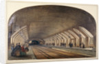Interior of Baker Street Station showing platforms and an approaching train, London by Kell Brothers